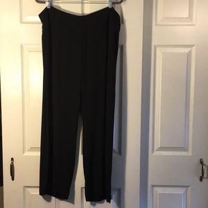 Eileen Fisher Black Silk Georgette Wide Pant XL